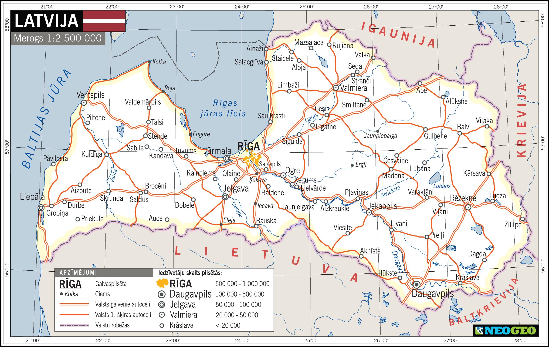 Latvijas karte mērogā Latvijas karte mērogā 1:2 500 000