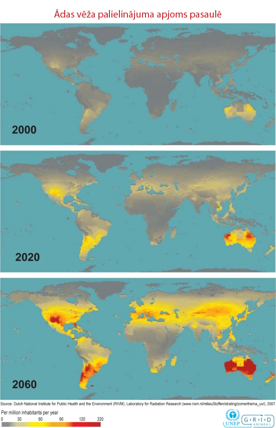 Iespējamā ādas vēža palielinājuma apjoms pasaulē 2020. un 2050. gadā
