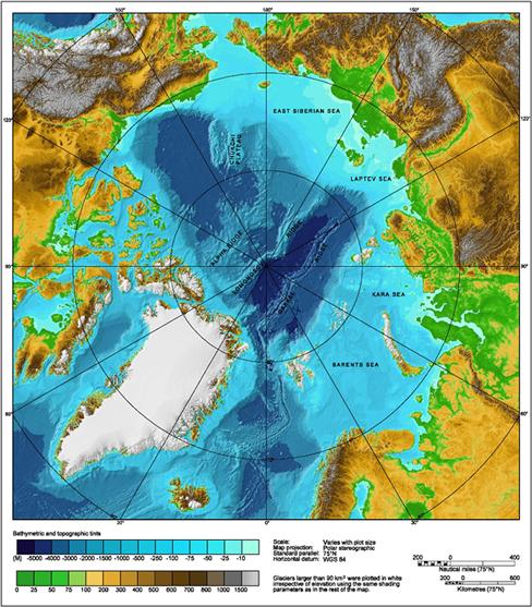 Ziemeļu ledus okeāna dibena reljefa karte