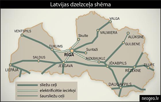 Latvijas dzelzceļa shēma| Neogeo.lv