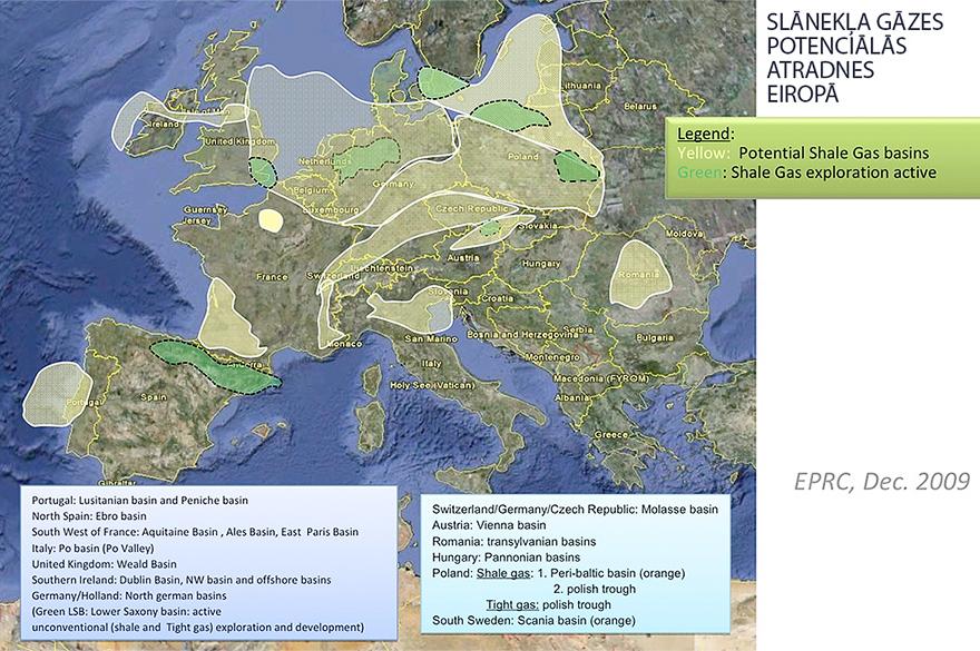 Slānekļa gāzes potenciālās atradnes Eiropā | Neogeo.lv