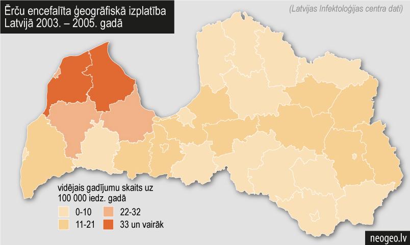 Ērču encefalīta ģeogrāfiskā izplatība Latvijā 2003. – 2005. gadā