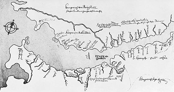 Gambijas kolonijas karte 1651. gadā.