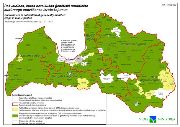 Latvijas pašvaldības, kuras noteikušas ĢM kultūraugu aizliegumu
