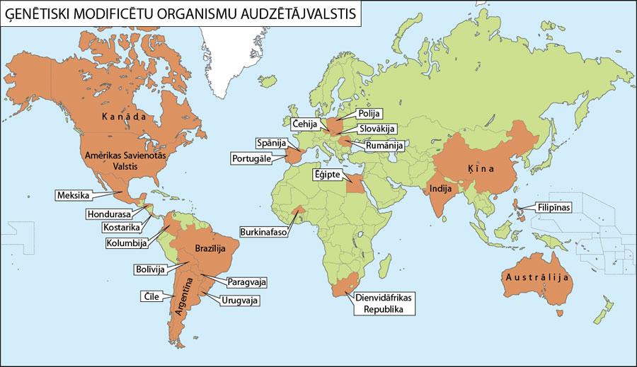 Ģenētiski modificētu organismu audzētājvalstis