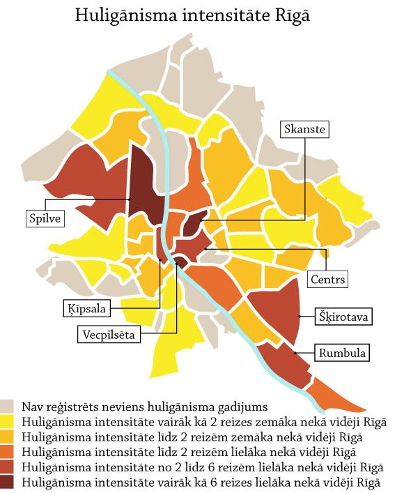Huligānisma gadījumu sadalījums pa Rīgas apkaimēm
