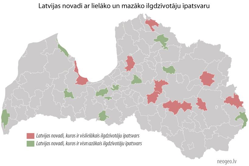 Latvijas novadi ar lielāko un mazāko ilgdzīvotāju īpatsvaru