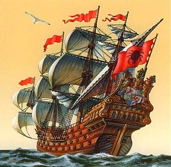 Kurzemes hercogistes lielākais karakuģis DAS WAPPEN DER HERZOGIN VON KURLAND.