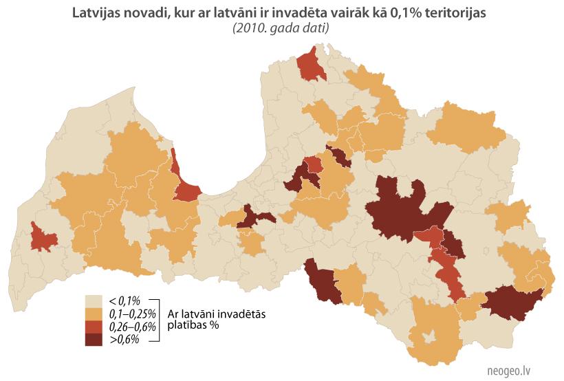 Latvijas novadi, kur ar latvāni ir invadēta vairāk kā 0,1% teritorijas