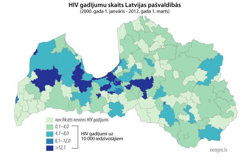 HIV gadījumu skaits Latvijas pašvaldībās