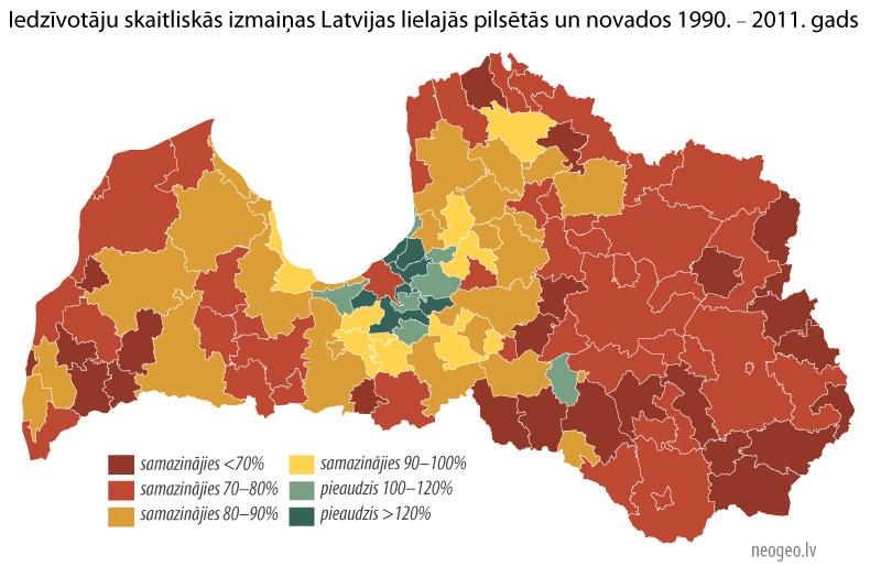 Iedzīvotāju skaitliskās izmaiņas Latvijas reģionos un novados. Tautas skaitīšana