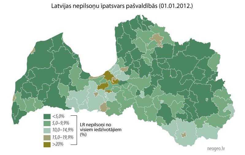 Latvijas nepilsoņu īpatsvars pašvaldībās