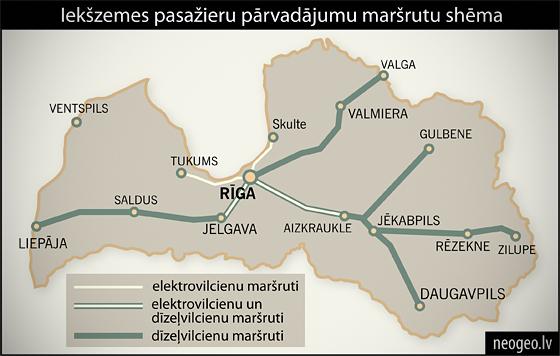 Iekšzemes pasažieru pārvadājumu maršrutu shēma| Neogeo.lv