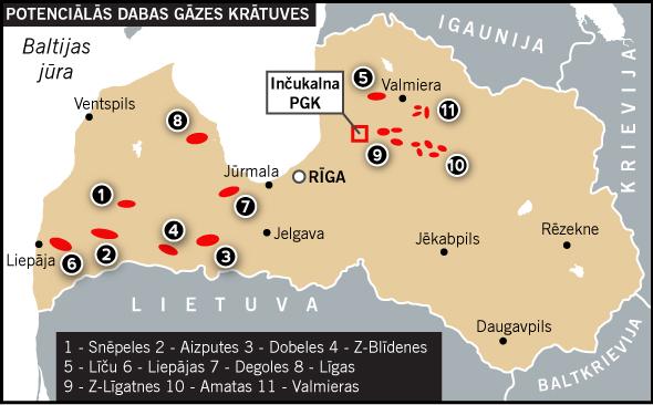 Potenciālo pazemes gāzes krātuvju karte | Neogeo.lv