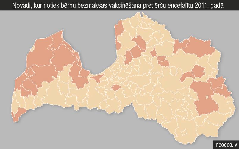 Novadi, kur notiek bērnu bezmaksas vakcinēšana pret ērču encefalītu 2011. gadā