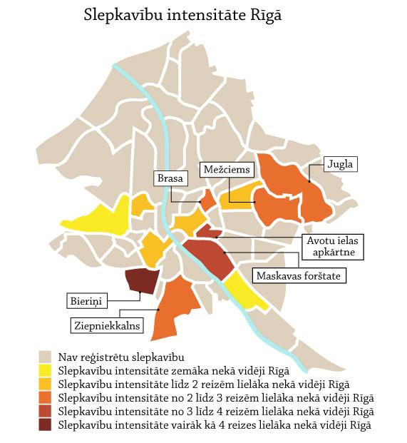 Slepkavību intensitāte Rīgā
