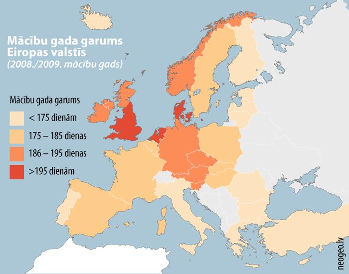 Mācību gada garums Eiropas valstīs (2008./2009. mācību gads)