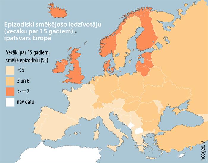Epizodiski smēķējošo iedzīvotāju (vecāku par 15 gadiem) īpatsvars Eiropā