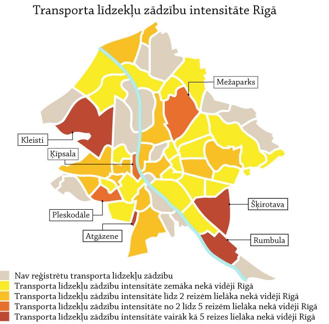 Transporta līdzekļu zādzības Rīgā