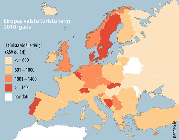 Eiropas valstu tūristu tēriņi 2010. gadā