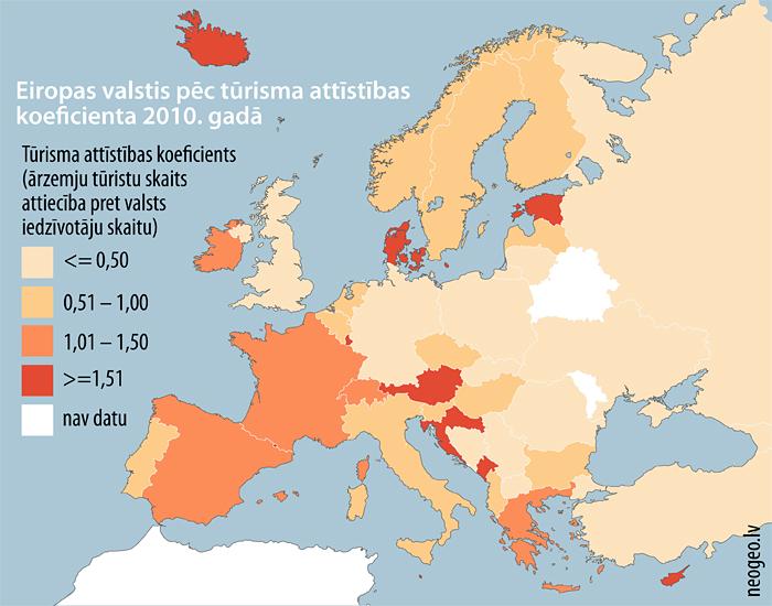 Eiropas valstis pēc tūrisma attīstības koeficienta 2010. gadā