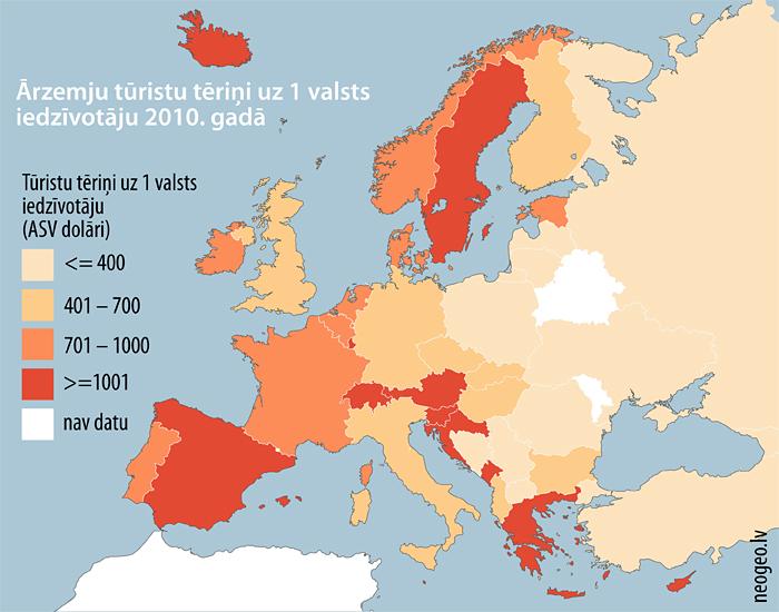 ārzemju tūristu tēriņi uz 1 valsts iedzīvotāju 2010. gadā