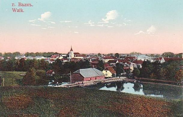 Skats uz Valkas pilsētu 1917. gadā.