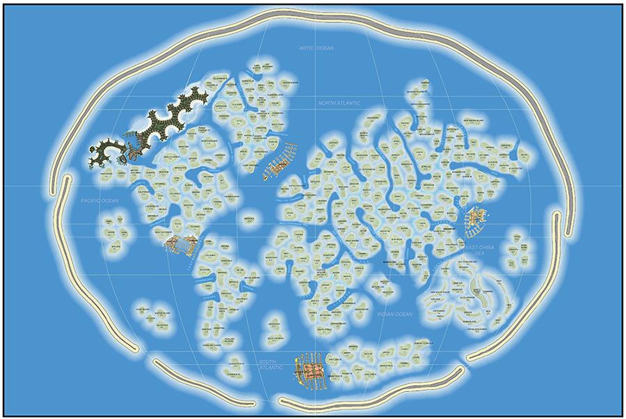 Pasaules salu karte ar salu nosaukumiem