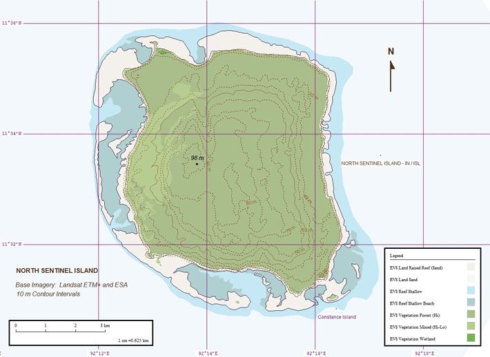 Ziemeļsentinelas salas topogrāfiskā karte