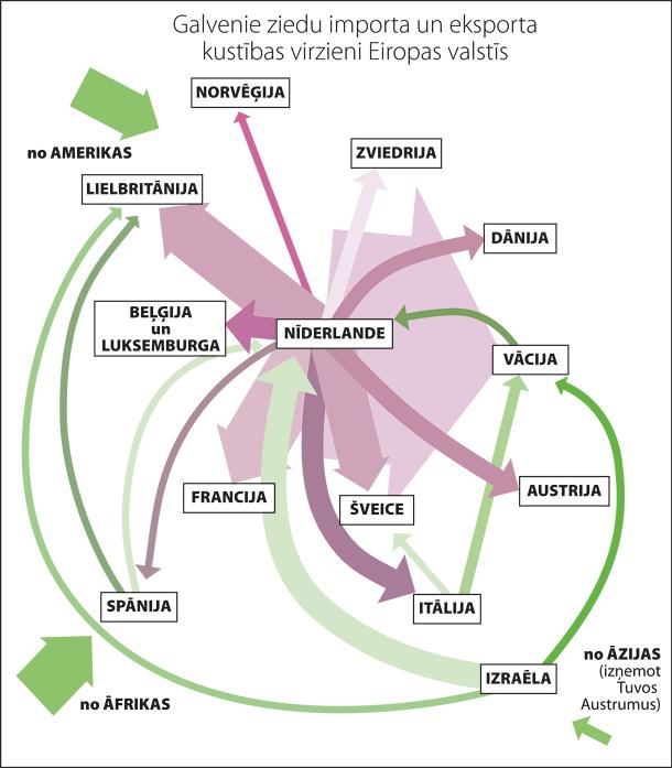 Galvenie ziedu importa un eksporta kustības virzieni Eiropā